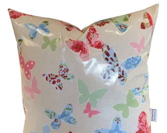 Oil Cloth Cushion Cover made in Butterflies Vintage - Outdoors or Inside