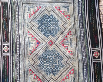 Ethnic Hmong Vintage Fabric batik Handmade textile Hilltribe craft supplies