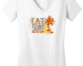 Cool Gift for Surfer Eat Surf and Be Happy Junior's V-Neck T-Shirt DT6501 - RV-85