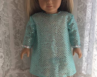 Sparkly seafoam green dress for 18 inch dolls
