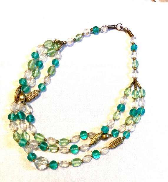 Stellar Triple Strand Vintage Beaded Necklace in Sea Greens & starkling Clear Crystal with Art Deco Golden tone Accent beads