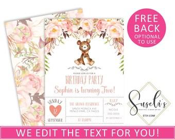 Digital Woodland Birthday Invitation, Custom Bear All Ages Girl Whimsical DIY Card kit Printable Birthday Party, DIGITAL 10-040