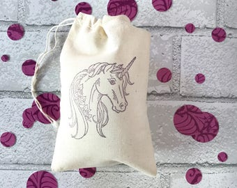 Unicorn Favor Bag | Unicorn Party Favor Birthday Gift Bag Muslin Bag Soap Jewelry Wedding Welcome Bridesmaid Gift