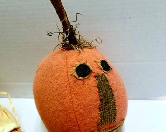 Pumpkin Head, Primitive Wool Jack O Lantern, Harvest Decor, Wool Pumpkin With Face, Rustic Fall Decor