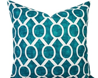15% OFF SALE Two Turquoise Pillow Covers - Turquoise and White Decorative Pillow Covers - Teal Pillows - Geometric Pillows - Pillow Cover 20