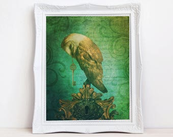 vintage style whimsical owl with key fantasy art print