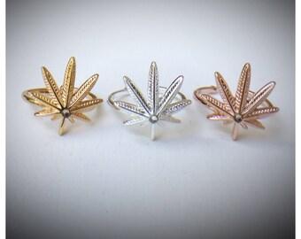 Cannabis Ring/ Pot Leaf Ring/ Marijuana Jewelry/ Weed Ring/ Minimalist Jewelry/ Swarovski Crystal Embellished