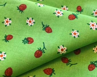 Swedish ikea fabric, strawberry fabric with a mod floral scandinavian pattern in unused condition. Fabric retro style. Sewing