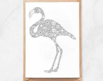 Flamingo Coloring Postcard, Flamingo Postcard, Flamingo Coloring Page Postcard, Flamingo Stationery, Gems Pattern Postcard, Diamond Postcard