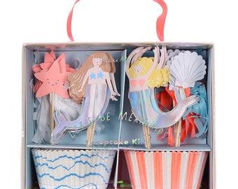 Mermaid Party Let's Be Mermaids Cupcake Kit - Meri Meri Mermaid birthday party iridescent cake topper dessert