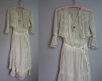 RESERVED - as-is Edwardian Wedding Gown // Embroidered Netting // XXS