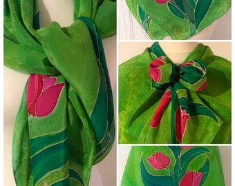 Unique and Hand painted Crepe de chine Silk Scarf with Flowers