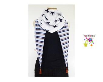 star Fabric scarf, star Fabric triangle scarf, star scarf, star triangle scarf, star cheche, star shawl, stripe scarf, stripe triangle scarf