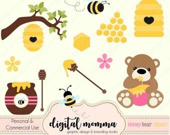 Honey Bear, Bee Clipart Set, Bee Hive, Honeycomb, Honey Bee .PNG Graphics, Instant Download!
