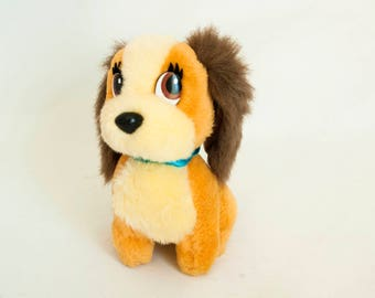 Vintage Lady Dog Plush Toy from Disneyland, Lady and the Tramp Stuffed Animal, 1980s 90s Disneyana