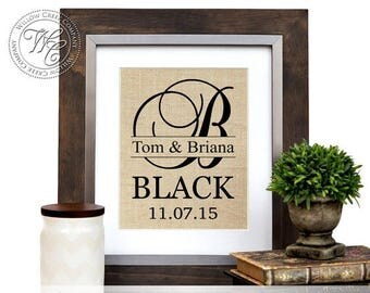 Farmhouse Decor, Burlap Monogram Wedding Gift, Personalized Burlap with Family Name and Established Date, Anniversary Gift, Engagement Gif