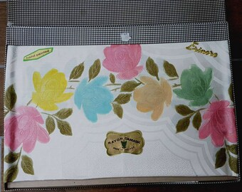 Vintage Rayon Damask Hand Painted Erinore Table Cloth (Marked)
