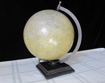 "World Globe 1950s French Terrestrial Table Top Wooden Base Vintage Office Decor 8"" Geographes-Editures Paris on Stand Circa 1948-1953"