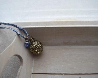 pregnancy's Bola, blue, Liberty, Blue Bead cord DrawString, glass