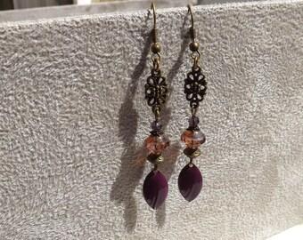 """Earrings ear """"valencia"""" Czech glass, enamel, brass"""