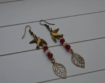 """""""Sofia"""" beige and red crystal earrings"""