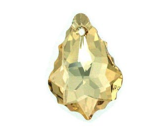 Golden Shadow Swarovski Crystal on 24K Gold plated Earring (on Syerling Silver)
