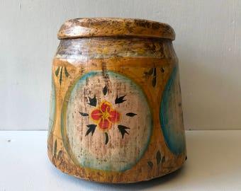 Little Pot GOA #101 - Vintage Decorative Wooden Plant Pot Container Hand Painted