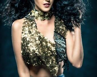 Black/ Gold/ Bronze Sequins capelets