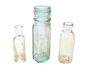 3 Antique Glass Bottles, Medicine Bottles, Apothecary Bottles, Worm Syrup Bottle, Hires Extract, Philadelphia, Baltimore, Chattanooga, B4