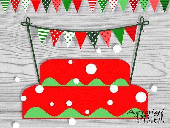 Printable Mini Christmas Cake Bunting - Red Green - Polka Dot, Striped - DIY