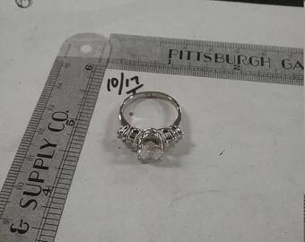 10% OFF 3 day sale Used sterling silver.925 clear stone ring size8 4.9gram