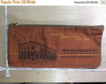 10% OFF 3 day sale Vintage Bank Money Coin Bag Rust Orange Merchants National Bank And Trust Company Meadcille Pa Used