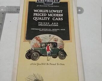 10% OFF 3 day sale Vintage chevrolet sales brochure full color