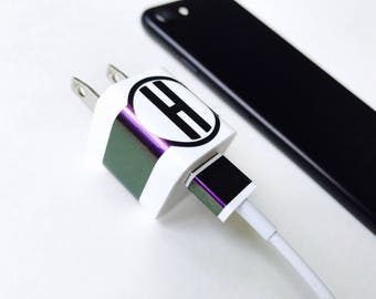 CHAMELON GREEN PURPLE Monogram Letter Charger Decal and Usb Monogram Custom Label your Charger iPhone