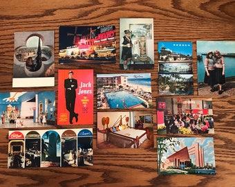 Vintage 12 Piece Post Card Lot Disney Monsanto Tomorrowland Moulin Rouge Travel Notre Dame Paris Montréal Las Vegas Sands Jack Jones Reno