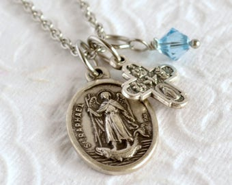 Archangel Raphael Necklace, Religious Medal Necklace, Patron St Necklace, Angel of Healing, Catholic Jewelry
