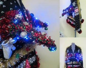 Outrageous 3-D Christmas Trees & Baubles Adult Humor Ugly Christmas Sweater Wild Fun Light-up Trees Bells Ugly Sweater Womens Large Cardigan