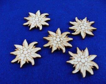 Flower, 5 pieces, wood, 4 cm (01-0014A)