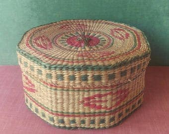Vintage Handwoven Multicolored Sea Grass Basket With Lid