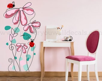 Teen Girl Room Wall Decal, Flower Wall Decal, Floral Wall Decal, Nursery Wall Decals, Nursery Wall Stickers, Wall Decals Nursery 04-0009