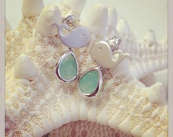 Whale Earrings, Whale Stud Gemstone Earrings