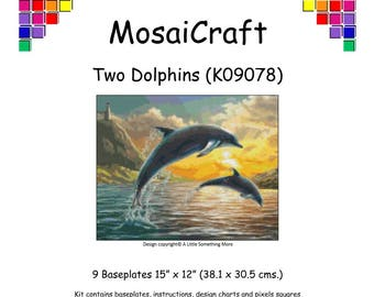 MosaiCraft Pixel Craft Mosaic Art Kit 'Two Dolphins' (Like Mini Mosaic and Paint by Numbers)
