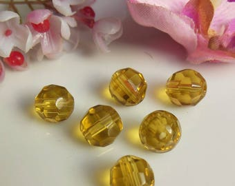 set of 6 beads fonce10mm yellow Czech glass faceted