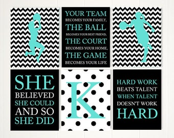 Teen girl room decor, basketball art, basketball, basketball room decor, monogram, basketball gifts, gift for her, dorm decor, set of 6,