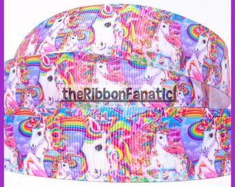"5 yds 7/8"" Rainbow Psychedelic Unicorns Unicorn Grosgrain Ribbon"