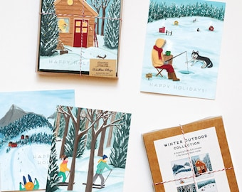 Assorted Box of 8 'Outdoor Winter' greeting cards - holiday cards