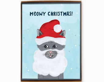Box of 8 Christmas Cards - Meowy Christmas!