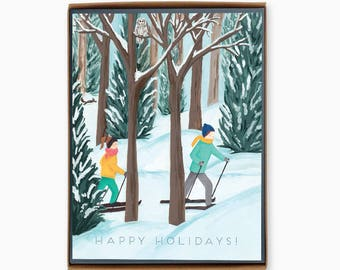 Box of 8 Holiday Cards - Cross Country - happy holidays - winter - outdoor - nature