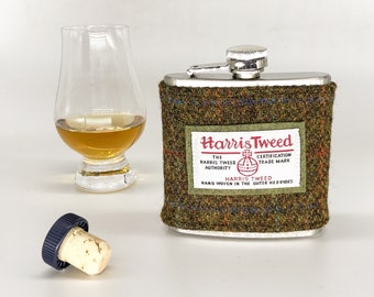 6oz Hip flask with Harris tweed sleeve in terracotta olive green | Scottish Country Wedding Party Gift | Wedding Memento | Best Mans Gift