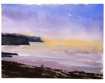 "Landscape original watercolor ""Sunset in Arromanches, Normandy"" painting Normandy decor france wall france french decor normandie"